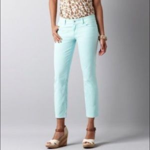 Mint Green Cropped Spring Pants Loft